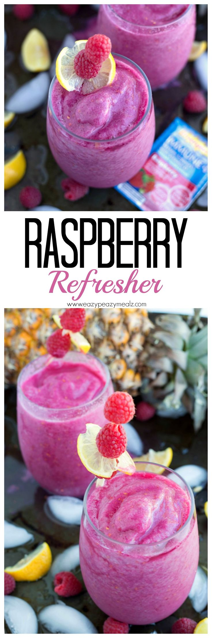 Raspberry Refresher: A frozen raspberry drink with immune support, perfect for sipping pool side. #ad #hydratedandhealthy - Eazy Peazy Mealz