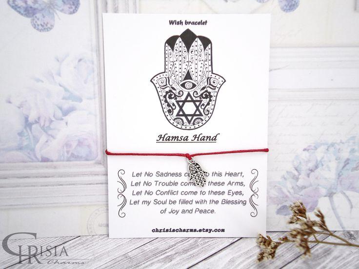 http://etsy.me/2E3I2GI: Wish Bracelet, Hamsa Hand Bracelet, Hamsa Hand, Hand of Fatima, Friendship Bracelet, Charm Bracelet, Protection Bracelet, Best Friend  #jewelry #bracelet #religious #chrisiacharms #etsy #wishbracelets #charmbracelets