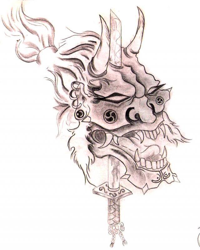 Cabeza de oni clavada en espada zamurai hecha en grafito