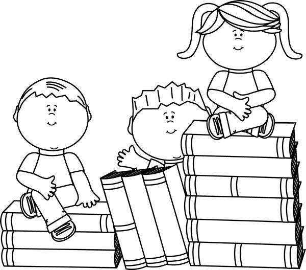 Cute for our wagging Tail childrens reading program...clip art black and white | Black and White Kids Sitting on Books Clip Art Image - black and white ...