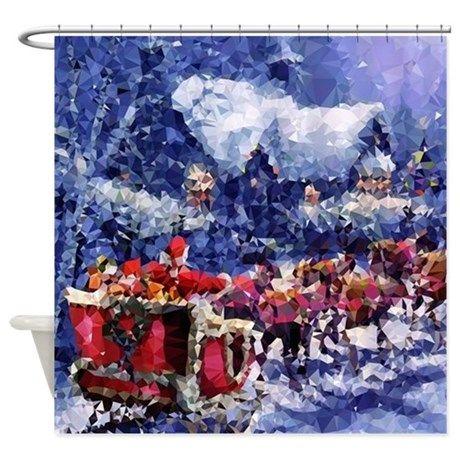 Santa Claus Christmas Sleigh Snow Shower Curtain
