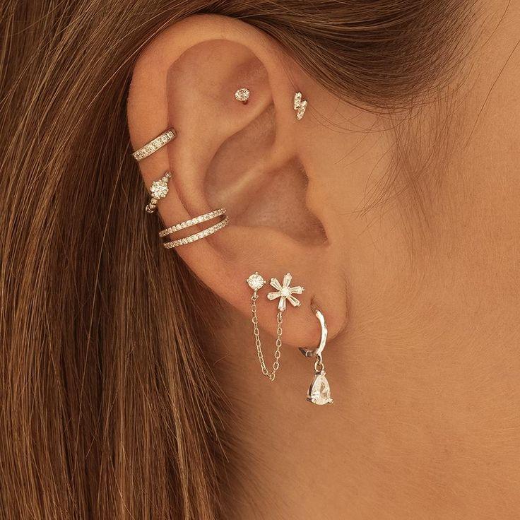 Pretty Ear Piercings, Ear Piercings Tragus, Piercing Tattoo, Ear Jewelry, Jewellery, Watch Necklace, White Earrings, Sterling Silver, Capsule Wardrobe
