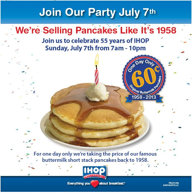 Pinned July 2nd: Pancakes for under a buck Sunday at IHOP coupon via The Coupons App