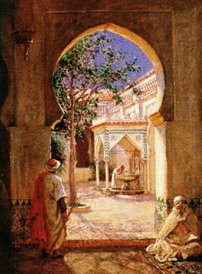 Algérie - Peintre Américain  Addison Thomas Millar (1860 –1913), huile sur toile , Titre : Cour de la fontaine ablutions dans la mosquée El Kebir, Alger