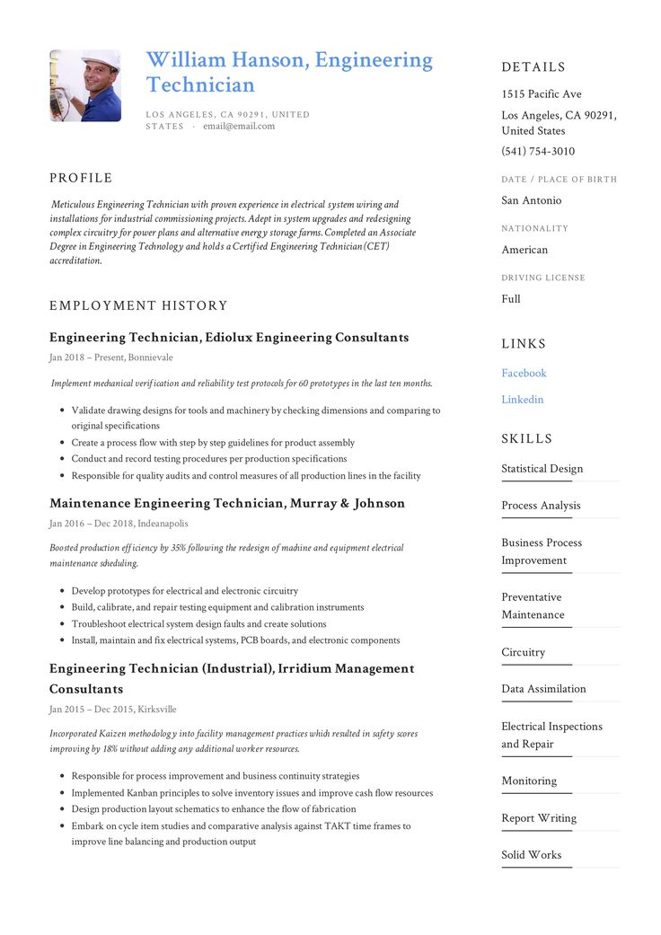 Engineering Technician Resume & Writing Guide +12