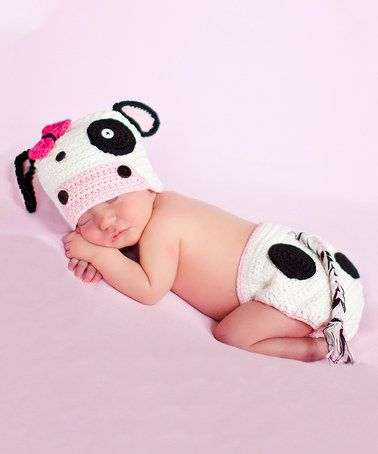 Another great find on #zulily! White & Pink Cow Crochet Beanie & Diaper Cover - Infant by Melondipity #zulilyfinds