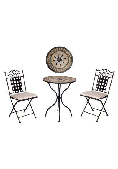 Conjunto de mesa y dos sillas. Mesa con tapa de mosaico color negro, beige y marron. Dos sillas color oro viejo cojín incluido color beige.  Medidas mesa :   Anchura 76 cm aprox  Altura 76 cm aprox  Medidas silla:  Anchura 36 cm aprox  Altura 90 cm aprox  Conjunto para terraza, patio, jardín...