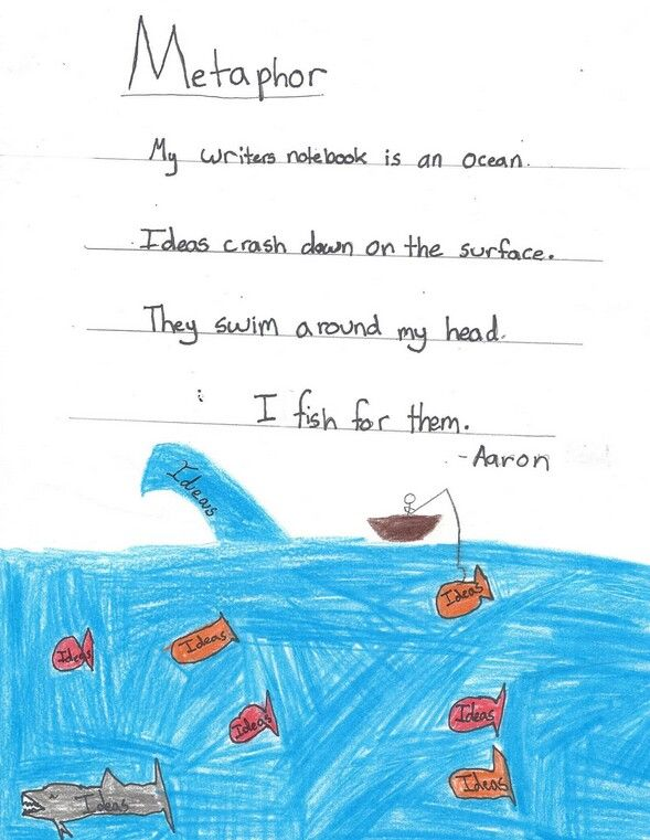 "One of four student metaphor ""winners"" from our 2015 writer's notebook metaphor contest!  This one came from Aaron, one of Ms. Stein's students, a great writing teacher from Washington. Click here to see the assignment and learn about our annual notebook metaphor contest: http://corbettharrison.com/free_lessons/Four-Metaphor-Poems.htm#contest"