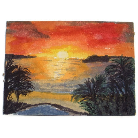 Original Watercolour ACEO  Sunset from the by UniquelyYourDesigns, £4.00