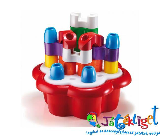 Margaréta bébi építőjáték - piros, 20 db, különböző formákkal