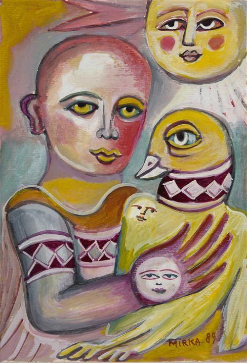 Harlequin and Friends 1989 Gouache on paper:  Mirka Madeleine Mora (1928-.) Australia