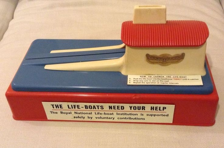 Vintage RNLI Coin Collection Tin Box Display-Lifeboat Launch Station