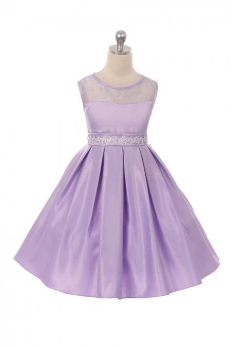 337b8313340 Lilac Solid Satin Contrast Organza Sleeveless Flared Dress in 2019 ...
