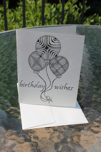 Zia Originally Hand Drawn Black Ink Blank Birthday Card Jpg 333x500 Zentangle Ideas