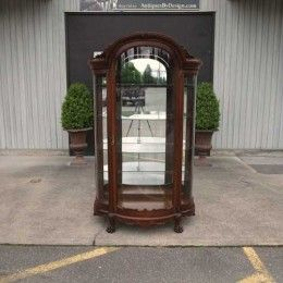 Antique and Vintage Furniture For Sale - R J Horner Victorian Tiger Oak Crystal Cabinet