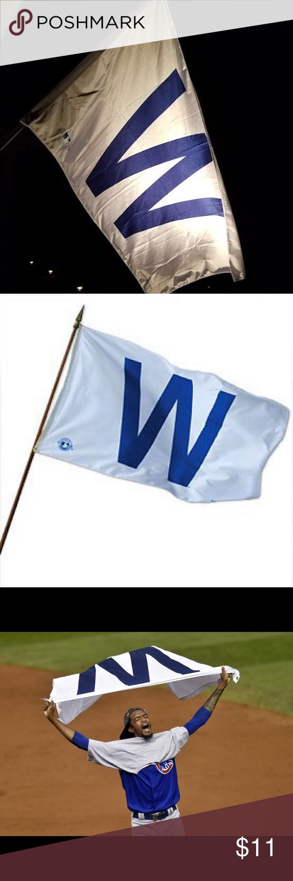 """Chicago Cubs """"W"""" WIN House Flag Brand new Chicago Cubs W flag! Make your house stand out after every Cubs win by flying your """"W"""" WIN flag proudly. Made of polyester, 3ft by 5ft in size, attaches to flagpole by attached metal grommets. Flagpole not included.  NOTE: Also doubles as a cape and a blanket. :) Please check out my other listings for more Cubs merchandise! Other"""