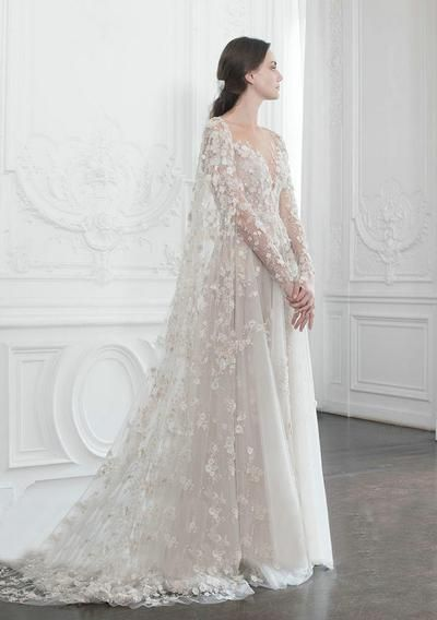 Ivory Lace Wedding Dress Vintage Tulle A Line Wedding Dress # VB4166 – DemiDress…