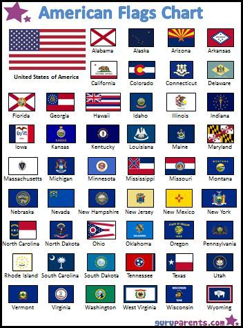 American Flags Chart: A colorful chart with the 50 United States Flags. Explore the history and geography of America with this free, printable chart showing the variety of flags of each of the fifty states.