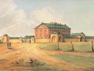 Painting of Hyde Park baracks from south western courner shortly after construction with two men in front. It looks dry and there are no trees. 1820 - GW Evans