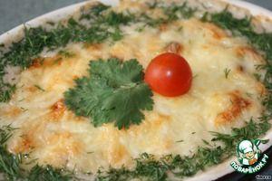 Баклажаны, запеченные с грибами в сливочно-сырном соусе
