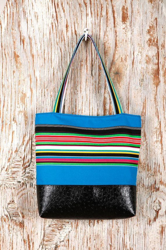 Black Vegan Leather Tote Bag with Blue Cotton Print - Gift for Women