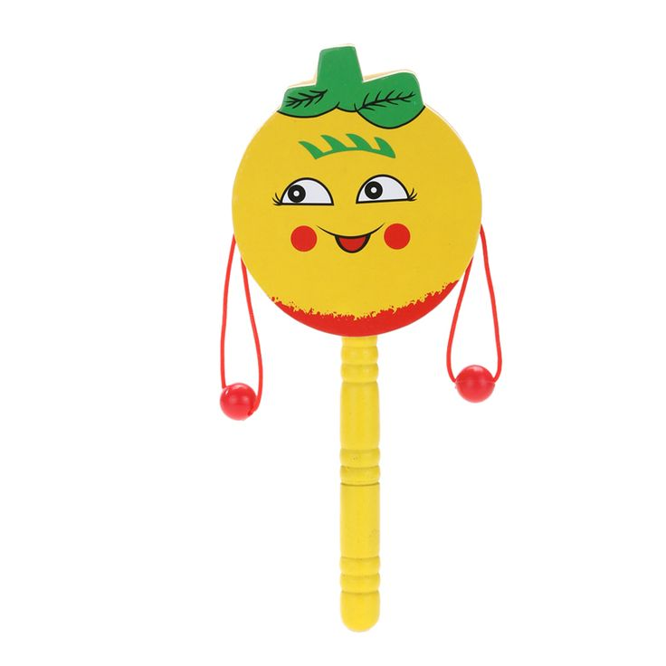 Safe Wooden Toy Baby Kids Hand Drum Shaking Rattle Toy Baby Infant Cartoon Animal Rattle Toy Gift