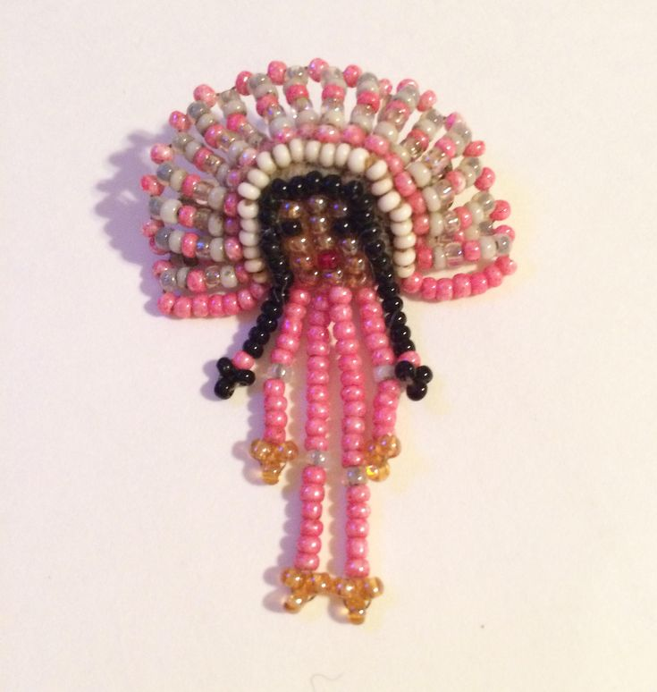 Vintage Native American Seed Bead Brooch Tribal Chief Headress Brooch Pin, Vintage Jewelry by MyVintageApartment on Etsy