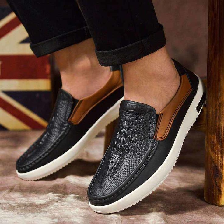 Black crocodile skin retro leather slip on shoe loafer | Mens shoes online 1229MS