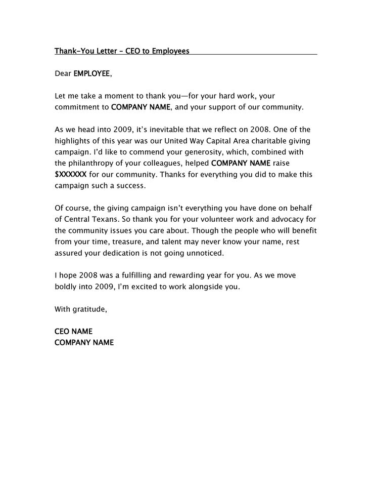 ceo thank you letter employees the sample employee bonus - thank you letter to employees