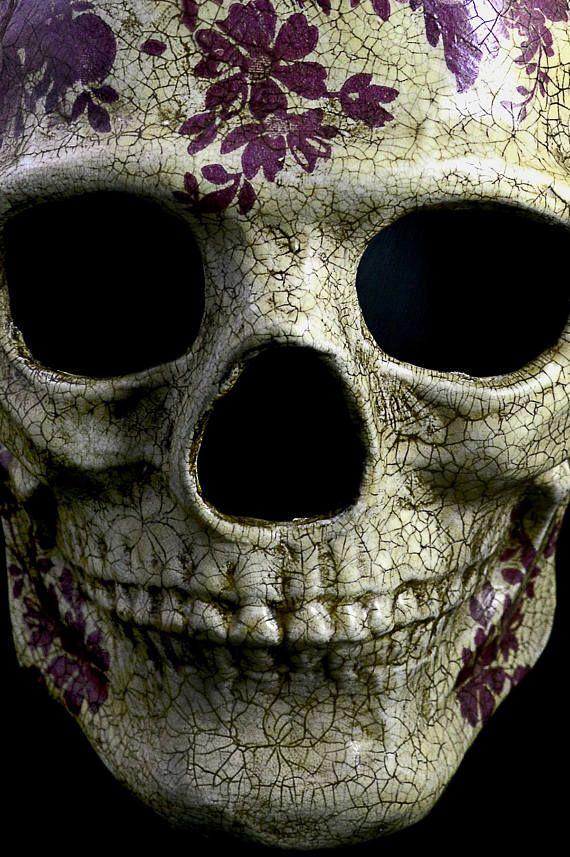 Máscara de papel maché de cráneo halloween la máscara rosas