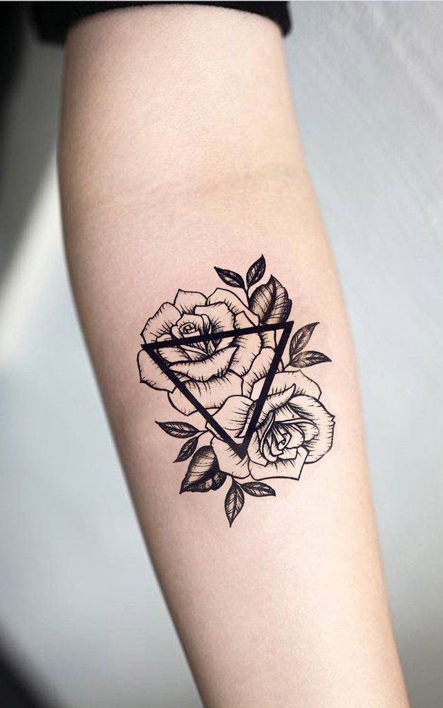 Geometric Roses Forearm Tattoo Ideas for Women – Small Triangle Flower Arm Tat -…   – Tattoos