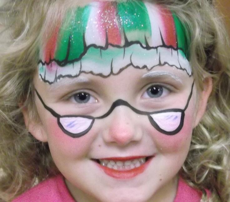 Christmas / Mrs. Claus Face Paint Design
