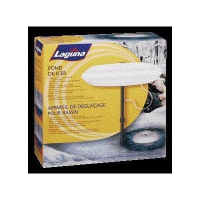 Laguna Pond De-Icer by Laguna. $22.40. This product weight is 1.35-pound. The de-icer consists of a 14-inch high-density styrofoam float, a venturi valve for aeration and an extendable riser stem. Recommended for temperatures down to-20 degrees celsius. Measures 5-inch length by 14-2/7-inch width by 14-inch high. Reversible argyle raincoat. The Laguna pond de-icer helps prevent pond surfaces from completely freezing over and allows necessary gas exchange that ...