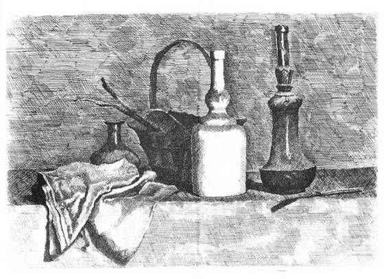 Giorgio Morandi, 'Still Life with Drapery to the Left', 1927. Etching, 249 x 358 mm. Vitali 31. Galleria d'Arte Maggiore, Bologna.