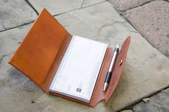 Leather checkbook cover with pen holder in cognac-SR