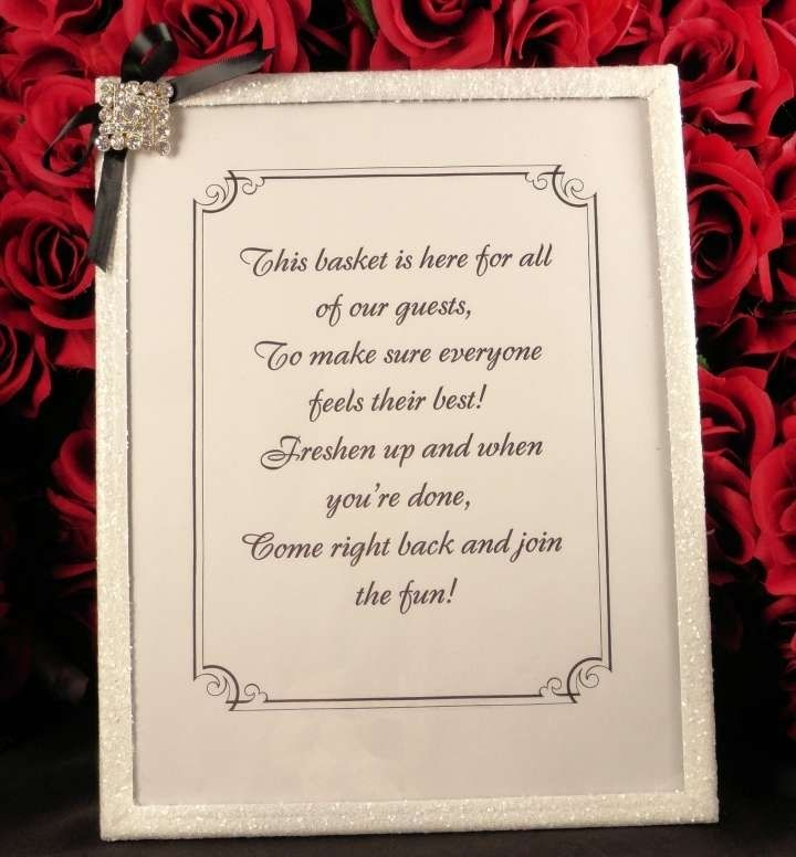 Unplugged Wedding Poem Sign And Bathroom Basket