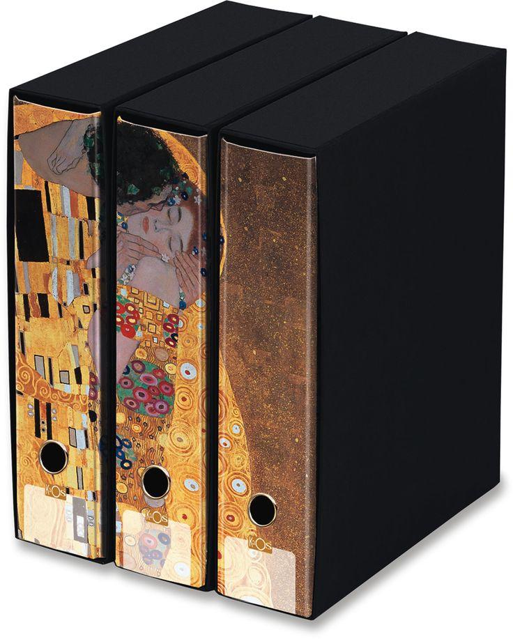 KAOS Lever Arch Files 2ring Binders with slipcase, Spine 8 cm, 3 pcs Set -THE KISS, GUSTAV KLIMT- 3 pcs Set Dimensions: 26.8x35x29 cm