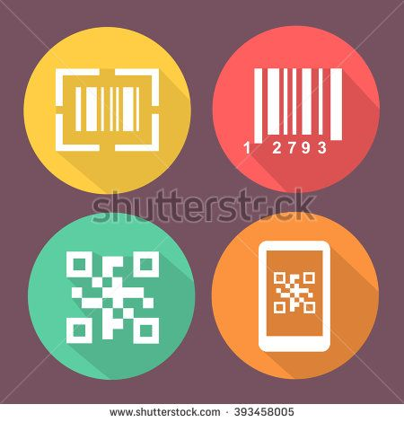 Bar and Qr code icons.  Smartphone symbols with Scan barcode. Circle flat buttons with icon.