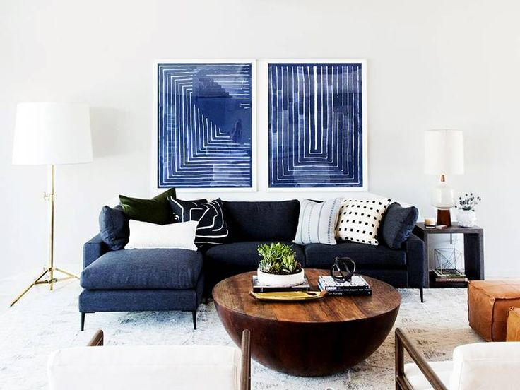 Blue And White Living Room Navy Sofa Blue Abstract Art Mid Century Modern Living Room Navy Sofa Living Room Blue Living Room Living Room Sofa