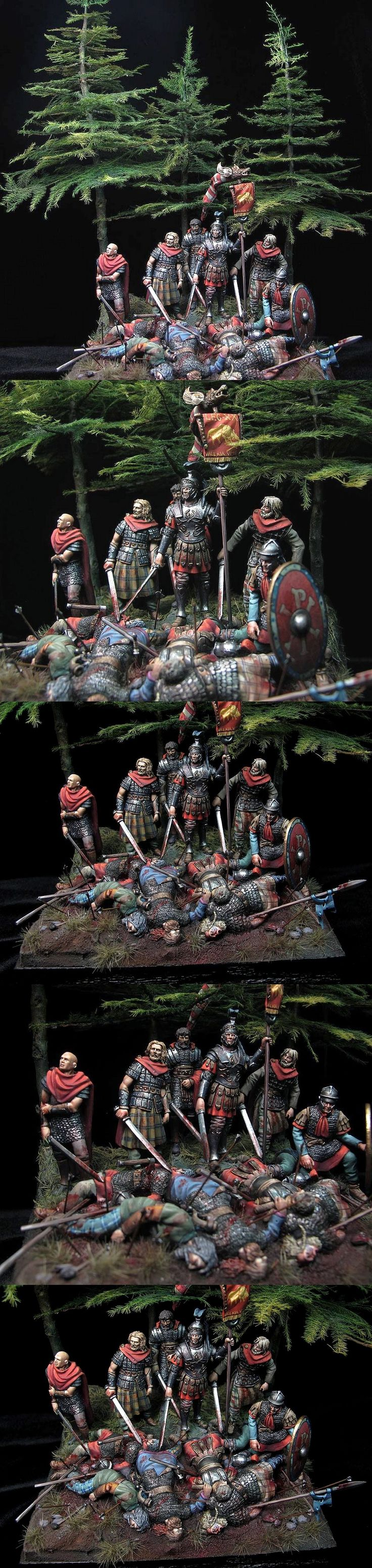 Roman soldiers post battle scene