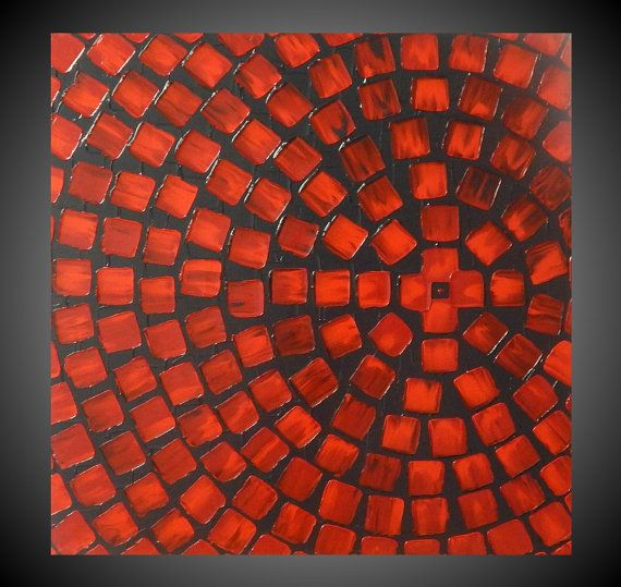 60 x 60 Astratto Dipinto in acrilico strutturato di acrylkreativ
