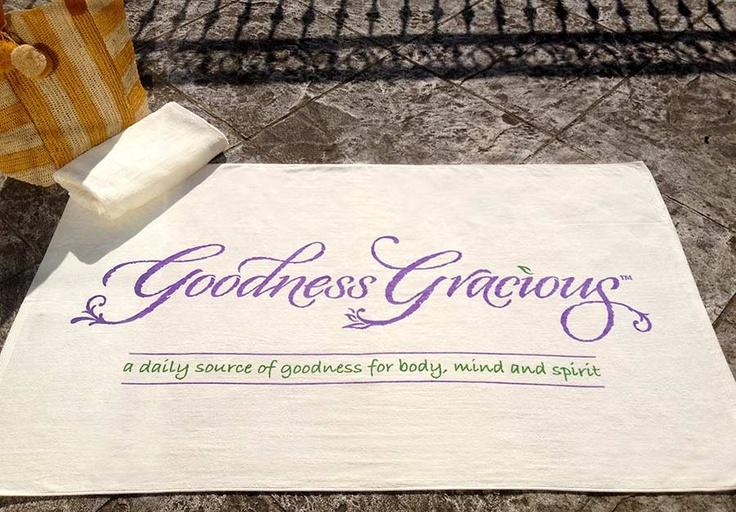 """Express yourself wherever you are, in body, mind and spirit with a """"Goodness Gracious"""" beach towel. Made of pure cotton, the towel is soft, absorbent & fast drying. Perfect compliment to your stylish beach bag. #beach #beachtowel #towel #positive #uplifting #motivational #inspire #inspirational"""
