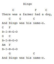 Bingo Ukulele Chords