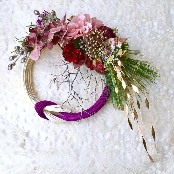 薔薇とダリアのお正月飾り |フラワー・リース|kamiyu|ハンドメイド通販・販売のCreema