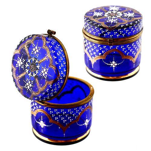 Antique Victorian Royal Blue Cobalt Enamelled Glass Hinged Jewelry Trinket Box | eBay