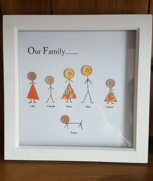 "Personalised Wooden Box Frame ""Our Family "" £9.99"