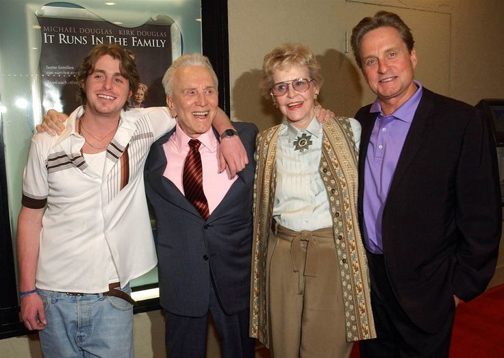 Diana Douglas here with her family has passed away at the age of 92 RIP Diana  Kirk Douglas, Michael Douglas, Cameron Douglas