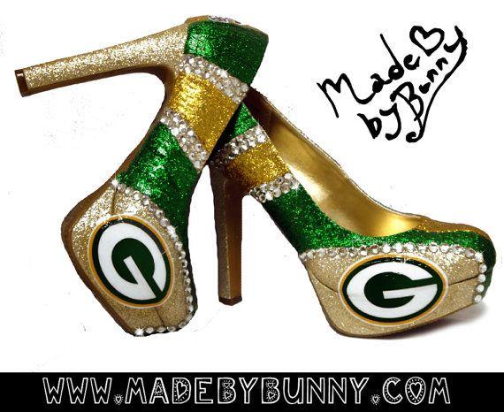 Greenbay Packers NFL Football Sexy Sports Glitter Heels with Crystal Rhinestones - Custom Stiletto / Pumps / Shoes via Etsy