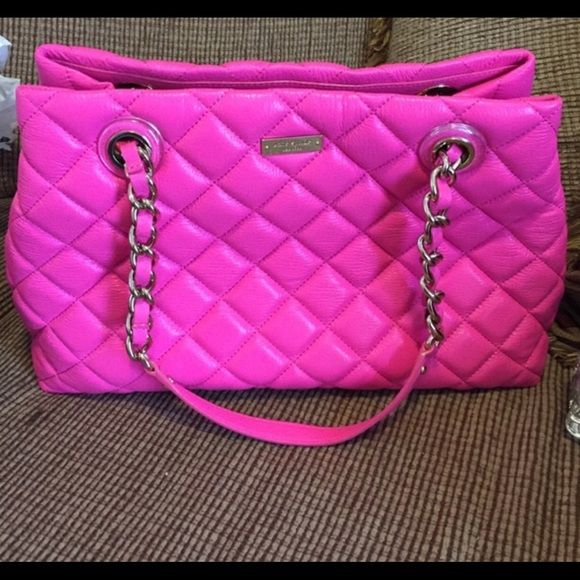HOT PINK KATE SPATE PURSE Excellent brand new condition. Hot Pink. Medium size holds a lot. Beautiful purse. kate spade Bags Shoulder Bags