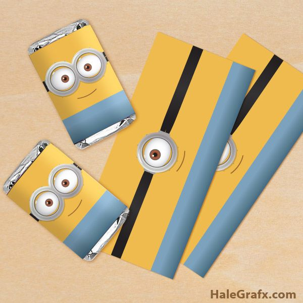 minion candy bar wrapper FREE Printable Minion Mini Candy Bar Wrappers---easy to make this with strips of paper and wiggly eyes!